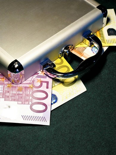 euro currency in a small briefcase : Stock Photo