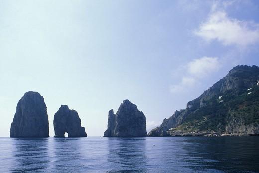 cliffs and faraglioni, capri island, italy : Stock Photo