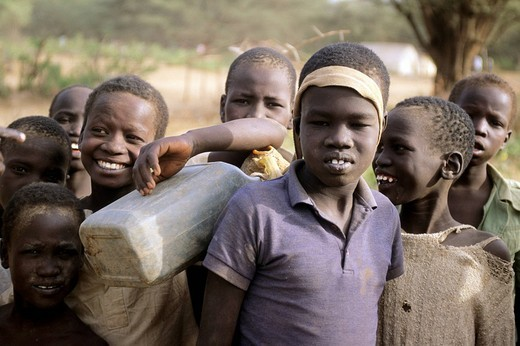 Stock Photo: 3153-792966 africa, kenya, kakuma refugees camp, sudanese children