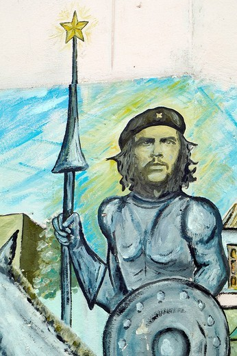 Stock Photo: 3153-793445 Che Guevara, Painted wall, Characteristic neighborhood, Muraleando, Luyanó Moderno, La Habana, cuba