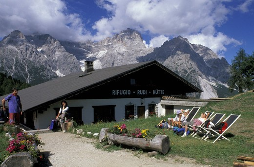 Stock Photo: 3153-794148 mountain hut/croda rossa meadows, dolomiti sesto park, italy