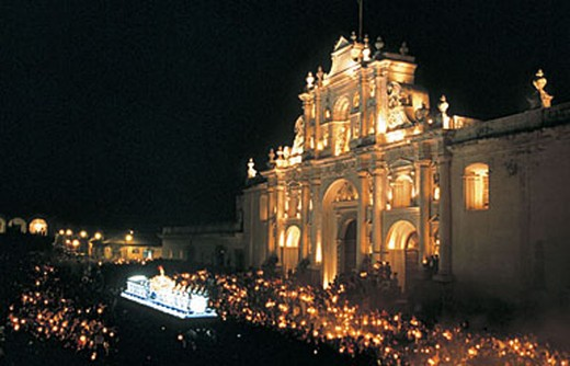 Stock Photo: 3153-795263 america, guatemala, antigua, semana santa, cathedral