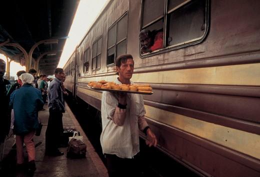Stock Photo: 3153-795814 railway station, train, people, cuba