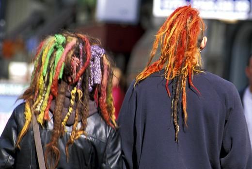 strange coloured hairdos, the hague, holland : Stock Photo