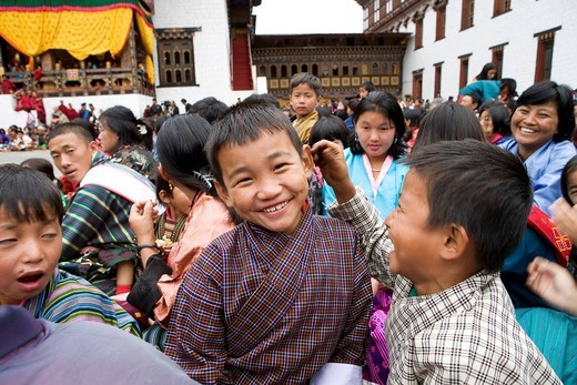 Bhutan. Thimphu. Tsechu Festival Bhuddist celebration. : Stock Photo