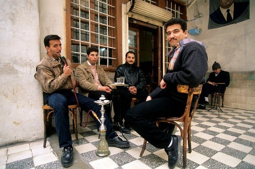 asia, syria, damascus, men, narghilè : Stock Photo