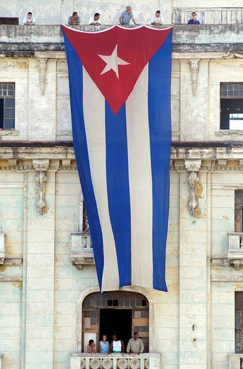 Gigantic Cuban flag Centro Habana _ Havana _ Cuba : Stock Photo