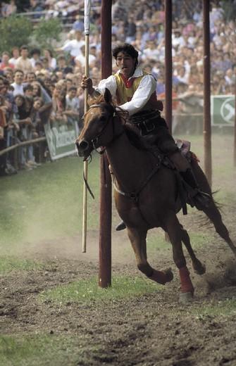 Stock Photo: 3153-799683 italy, trentino alto adige, alpe di siusi, oswald von wolkenstein riding