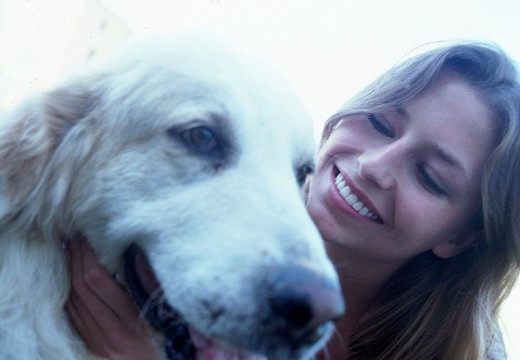Stock Photo: 3153-801596 young woman, dog