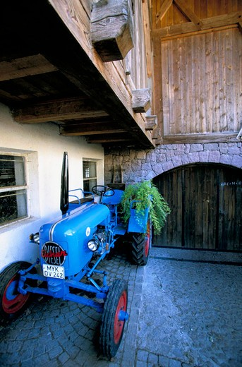 italy, alto adige, sant´osvaldo, farm tractor : Stock Photo