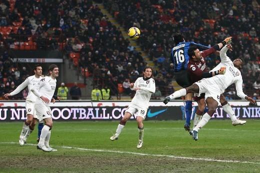Stock Photo: 3153-805115 nicolas burdisso scores his goal,milano 2009 ,serie a football championship 2008/2009 ,inter_torino