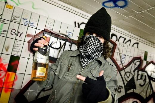 Stock Photo: 3153-805156 alcoholism, young man drunk
