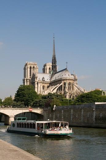 Stock Photo: 3153-805450 senna e cattedrale di notre dame, parigi, francia