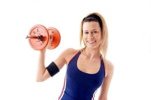 Stock Photo: 3153-806602 young woman, weight lifting