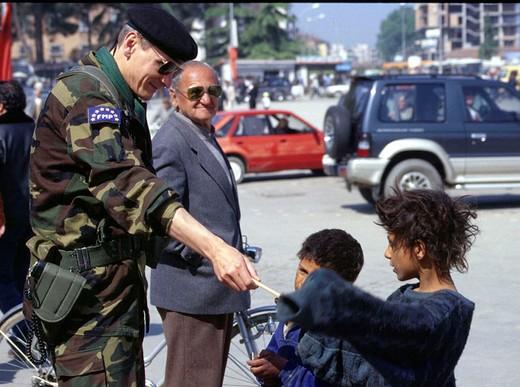 albania, tirana, italian military contingent of the united nations : Stock Photo