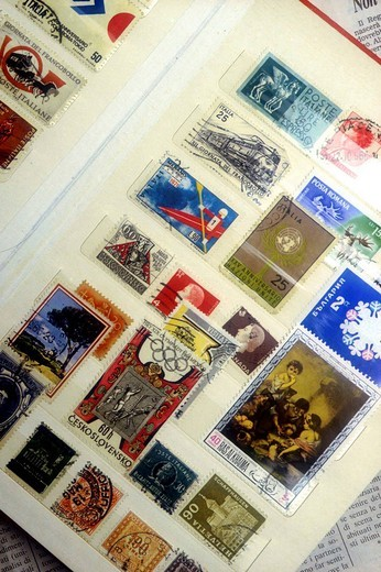 stamp collection : Stock Photo
