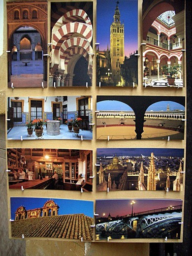 Stock Photo: 3153-809016 postcards, sevilla, andalusia, spain