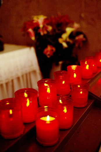 votive candles : Stock Photo