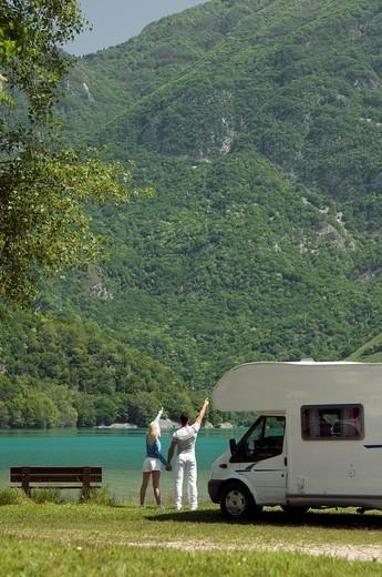 couple, camper : Stock Photo