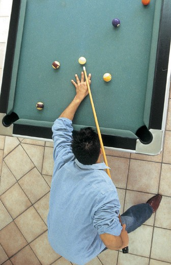 man, billiard table : Stock Photo