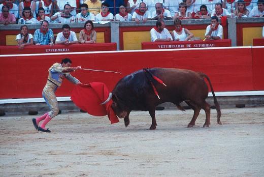 Stock Photo: 3153-811910 spain, navarra, pamplona, feria of san fermin, plaza de toros, bullfight
