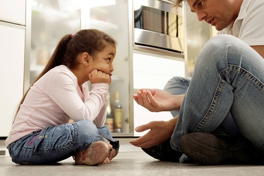 man scolding a little girl : Stock Photo
