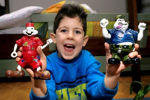 little boy with puppets : Stock Photo