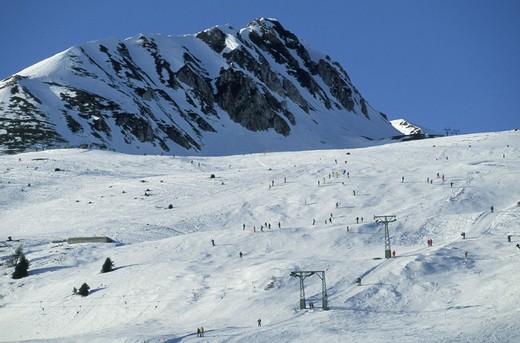 skiing slopes, tonale pass, italy : Stock Photo