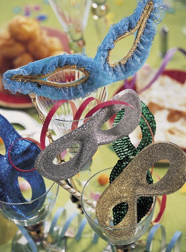 carnival sweets and various decorations : Stock Photo