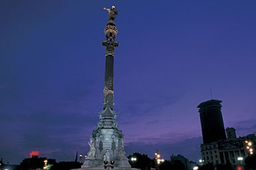 Stock Photo: 3153-816166 spain, barcelona, plaza portal de la pau, columbus monument