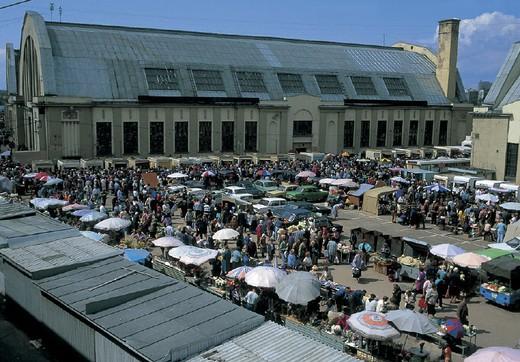latvia, riga, market place near the station : Stock Photo