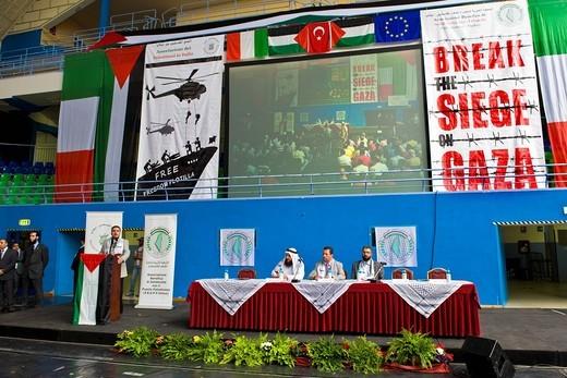 riyad al bustanji, hannoun mohammad, amin abu rashed, festival di solidarietà con il popolo palestinese, freedom flotilla, milano 2010 : Stock Photo