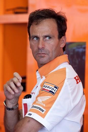 Stock Photo: 3153-823050 misano, 2010, moto gp gran premio di san marino, alberto puig team manager