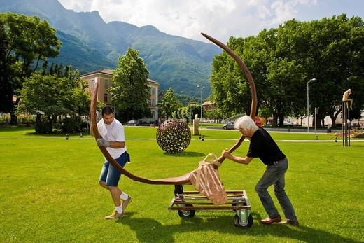 Stock Photo: 3153-823427 Brunivo Buttarelli, installation of an artwork in the square of Giubiasco, Switzerland. Brunivo Buttarelli, installation of an artwork in the square of Giubiasco, Switzerland