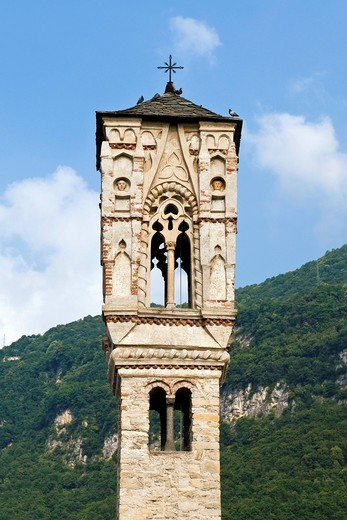 Stock Photo: 3153-823464 Tower bell, Santa Maria Maddalena church, Ossuccio, Como lake, Italy. Tower bell, Santa Maria Maddalena church, Ossuccio, Como lake, Italy