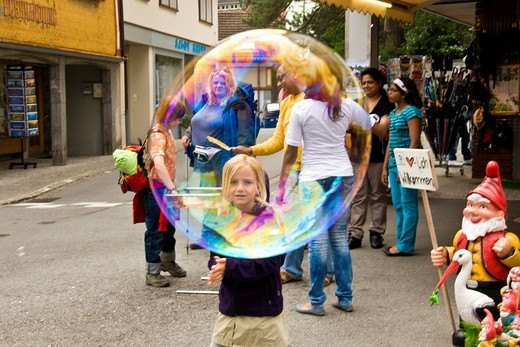 Stock Photo: 3153-824064 Soap bubbles, Appenzell, Switzerland. Soap bubbles, Appenzell, Switzerland