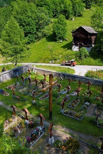 Stock Photo: 3153-824197 Cemetery, Bosco Gurin, Switzerland. Cemetery, Bosco Gurin, Switzerland