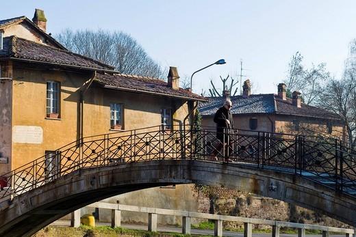 Stock Photo: 3153-826001 old bridge, Robecco sul Naviglio, Milan province, Italy. old bridge, Robecco sul Naviglio, Milan province, Italy
