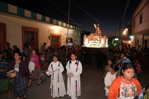 Stock Photo: 3153-833618 processione pasquale, totonicapan, guatemala. Easter procession, Totonicapan, Guatemala.