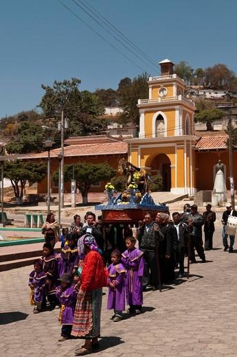 processione pasquale, san cristobal totonicapan, guatemala. Easter Procession, San Cristobal Totonicapan, Guatemala. : Stock Photo