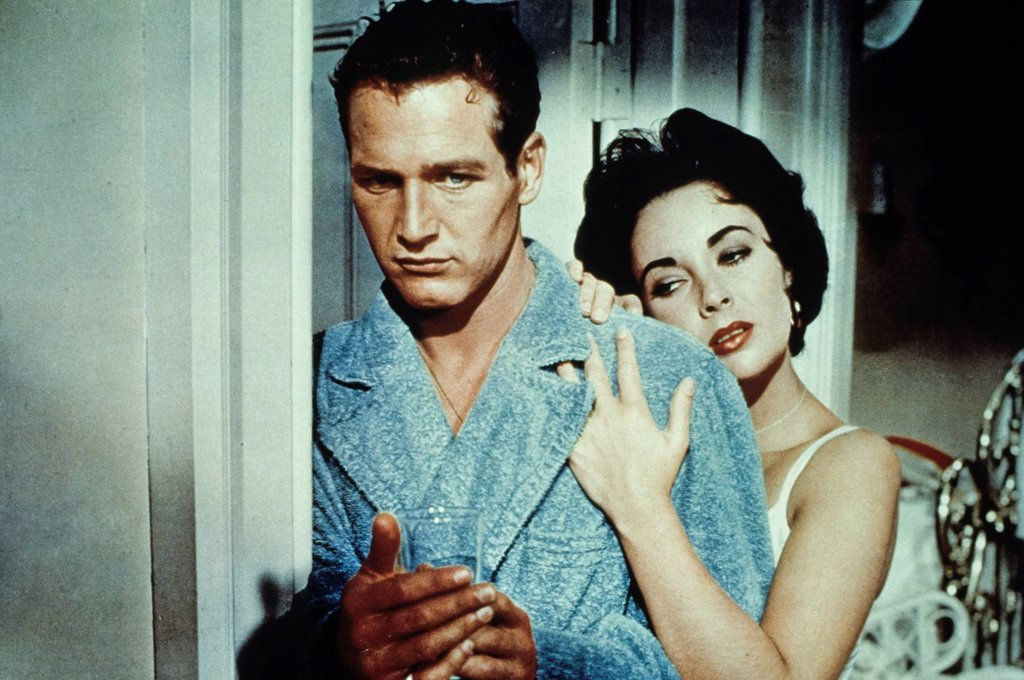 Stock Photo: 3153-833764 paul newman ed elizabeth taylor in La gatta sul tetto che scotta 1958. paul newman ed elizabeth taylor in cat on a hot tin roof 1958