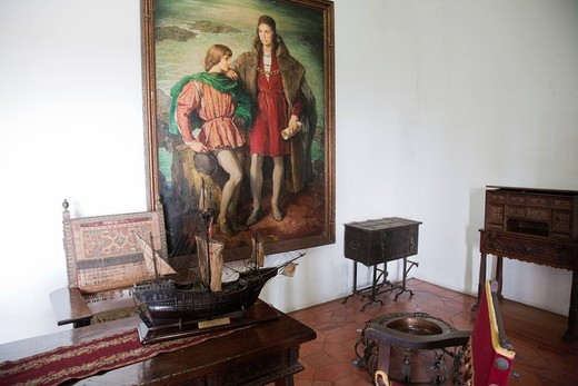 ritratto di cristoforo colombo e suo figlio, palacio virreinal de diego colon, santo domingo, hispaniola, repubblica dominicana, caraibi. virreinal palace of diego colon, portrait of christopher columbus and his son, santo domingo, hispaniola, dominican republic, caribbean : Stock Photo