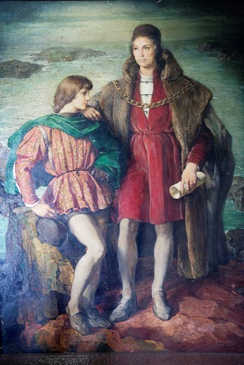 Stock Photo: 3153-838488 ritratto di cristoforo colombo e suo figlio, palacio virreinal de diego colon, santo domingo, hispaniola, repubblica dominicana, caraibi. virreinal palace of diego colon, portrait of christopher columbus and his son, santo domingo, hispaniola, dominican republic, caribbean