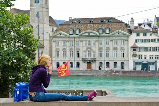 Stock Photo: 3153-839510 Girl in centre town, Zurich, Switzerland. Girl in centre town, Zurich, Switzerland