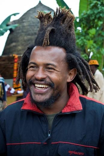 Rasta man, DorzË land, Chencha, Ethiopia. Rasta man, DorzË land, Chencha, Ethiopia : Stock Photo