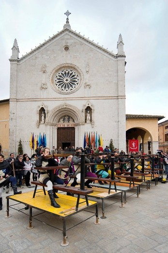 celebrazioni benedettine, norcia, umbria, italia. Benedictine celebrations, Norcia, Umbria, Italy : Stock Photo