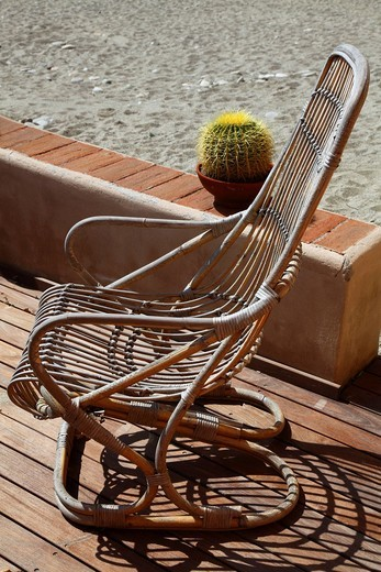 sedia di vimini e pianta grassa. wicker chair and plant fat : Stock Photo
