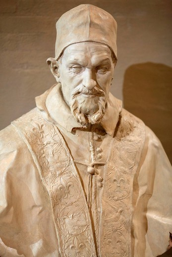 150 anni unità d´italia, mostra la bella italia, busto in marmo di papa innocenzo x nell´opera di alessandro algardi, dai musei vaticani, reggia di venaria reale, piemonte, italia. Pope Innocent X,150 years of Italian unity, shows la bella italia, palace of venaria reale, piedmont, italy : Stock Photo