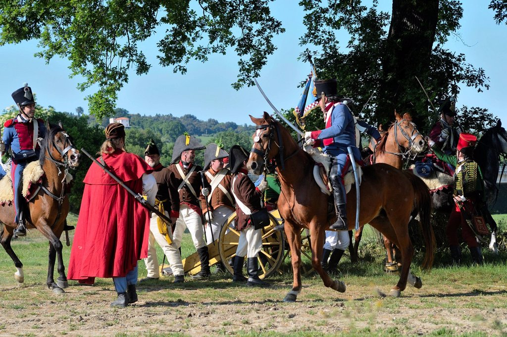 Stock Photo: 3153-850600 rievocazione della battaglia del 1815, castello della rancia, tolentino, marche, italia. reenactment of the Battle of Tolentino 1815, Tolentino, Italy