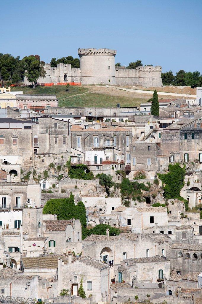 veduta di matera, basilicata, italia. view of matera, basilicata, italy : Stock Photo